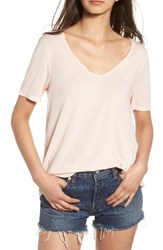 Women's Bp. Raw Edge V Neck Tee Pink Hero
