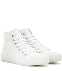 Jimmy Choo Berlin Leather Trimmed High Top Sneakers White