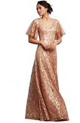 Women's Donna Morgan 'Camilla' Sequin Flutter Sleeve Gown Feather