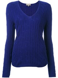 N.Peal Diagonal Cable V Neck Jumper Blue