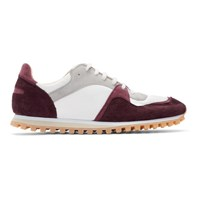 Spalwart Burgundy And White Marathon Trail Low Sneakers