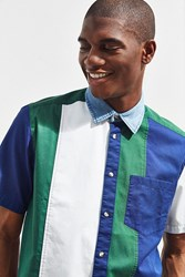 Urban Outfitters Uo Colorblocked Denim Collar Short Sleeve Button Down Shirt Green Multi