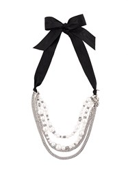 Lanvin Pearl Embellished Chain Necklace Brass White