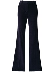 Victoria Beckham High Waisted Flare Trousers Blue