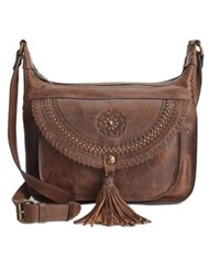 Patricia Nash Distressed Leather Camila Crossbody Chocolate
