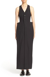 And Re Walker Wool And Silk Maxi Suiting Dress Black