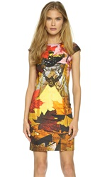 Just Cavalli Print Cap Sleeve Dress Yellow Musk