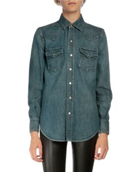 Saint Laurent Denim Snap Down Shirt Blue
