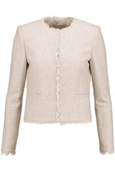 Alice Olivia Kidman Sequinned Frayed Cotton Blend Jacket Neutral