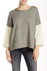 French Connection Vhari Colorblock Scoop Neck Sweater Gray