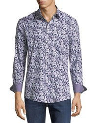 1 Like No Other Classic Fit Floral Silhouette Sport Shirt Navy