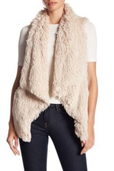 Jolt Faux Fur Waterfall Vest Beige