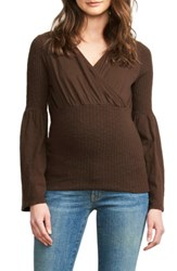 Maternal America Women's American Belly Hug Knit Maternity Top Chocolate