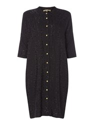 Biba Leopard Jaquard Tunic Dress Black