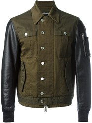 Dsquared2 Shirt Effect Bomber Jacket Green