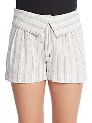 Vince Striped Fold Over Shorts Off White