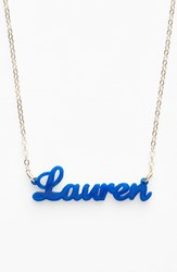 Women's Moon And Lola 'Script Font' Personalized Nameplate Pendant Necklace Cobalt Gold