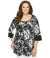 Karen Kane Plus Size Print Tunic Print Women's Long Sleeve Pullover Multi
