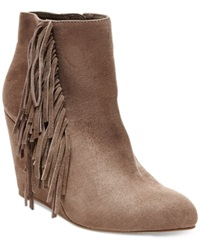 Madden Girl Madden Girl Pave Wedge Fringe Booties Women's Shoes Taupe