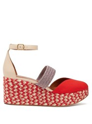 Malone Souliers Sasha Canvas Espadrille Wedges Red Multi