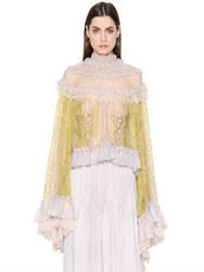 Chloe Frilled Patchwork Lace And Tulle Shirt