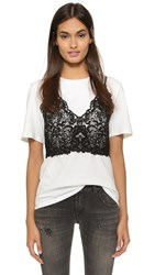 Endless Rose Lace Bralette Tee Off White Black