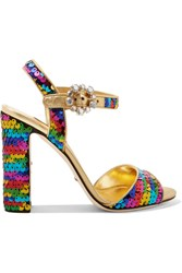 Dolce And Gabbana Crystal Embellished Sequined Metallic Leather Sandals Gold