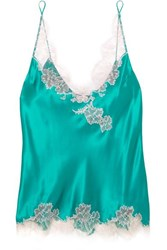 Carine Gilson Chantilly Lace Trimmed Silk Satin Camisole Emerald
