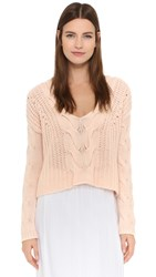 Tess Giberson Exaggerated Cable V Neck Sweater Bauhaus Pink
