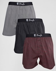 Pringle Woven Boxers In 3 Pack With Spot In Black Black
