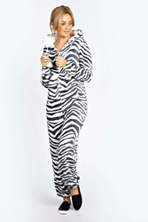 Boohoo Leah Super Soft Pom Pom Trim Zebra Print One Piece Grey