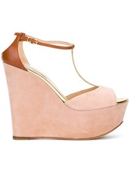 Casadei T Bar Wedges Women Calf Leather Chamois Leather Leather Kid Leather 37.5 Pink Purple