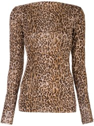 Peter Cohen Leopard Print Fitted Sweater 60