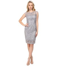 Adrianna Papell Extended Shoulder Sequin Lace Sheath Silver Women's Dress