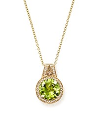 Bloomingdale's Peridot And Diamond Halo Pendant Necklace In 14K Yellow Gold 18 Green White