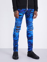 Balmain Camouflage Patterned Distressed Slim Fit Skinny Jeans Blue