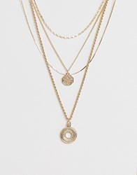 Warehouse Layered Necklace With Disc Detail In Gold