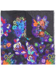 Boutique Moschino Floral Print Scarf Blue