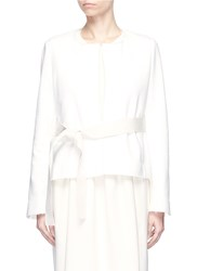 Ms Min Belted Terry Wrap Jacket White