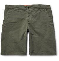 Barena Slim Fit Stretch Cotton Twill Chino Shorts Green