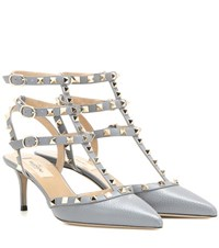 Valentino Rockstud Leather Kitten Heel Pumps Grey