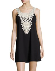 J Valdi Crochet Accented Cover Up Dress Black Ivory