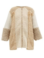 Stella Mccartney Panelled Faux Fur And Faux Shearling Coat Beige Multi