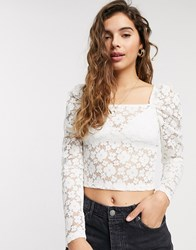 Pieces Square Neck Floral Lace Top In White