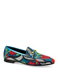 Gucci Jordaan Floral Brocade Loafers Turquoise Multi