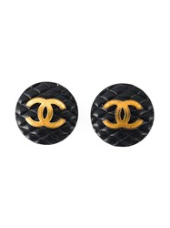 Chanel Vintage Logo Button Clip On Earrings Black