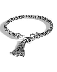 John Hardy Classic Chain Bracelet With Black Sapphire And Spinel Tassel Silver