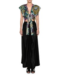 Attico Embroidered Sequins Tie Waist Evening Gown With Crepe Silk Skirt Multi Pattern