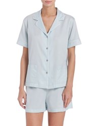 Natori Cotton Sateen Short Pajamas Blue