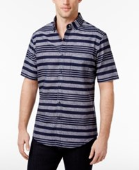 Club Room Men's Banks Multi Striped Shirt Only At Macy's Navy Blue
